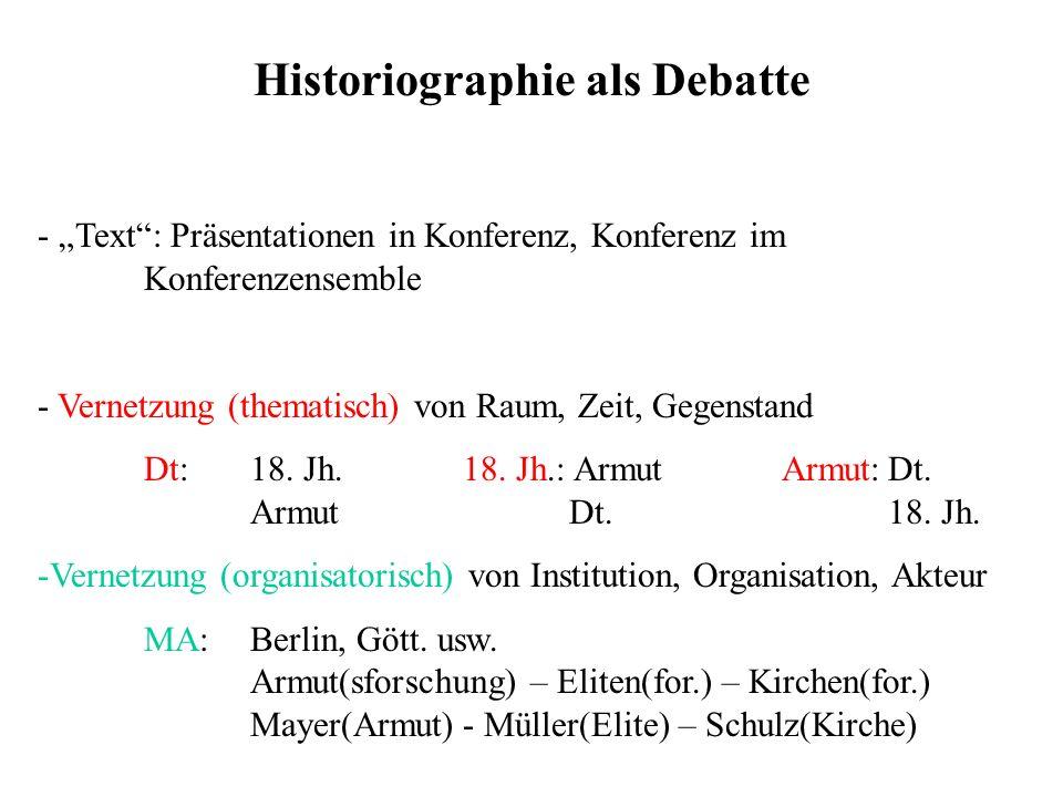Historiographie als Debatte - Text: Präsentationen in Konferenz, Konferenz im Konferenzensemble - Vernetzung (thematisch) von Raum, Zeit, Gegenstand D