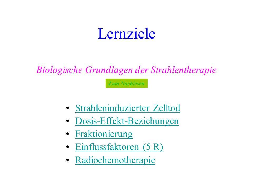 Lernziele Strahleninduzierter ZelltodStrahleninduzierter Zelltod Dosis-Effekt-Beziehungen Fraktionierung Einflussfaktoren (5 R)Einflussfaktoren (5 R)