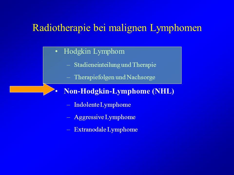 Radiotherapie bei malignen Lymphomen Hodgkin Lymphom –Stadieneinteilung und Therapie –Therapiefolgen und Nachsorge Non-Hodgkin-Lymphome (NHL) –Indolen