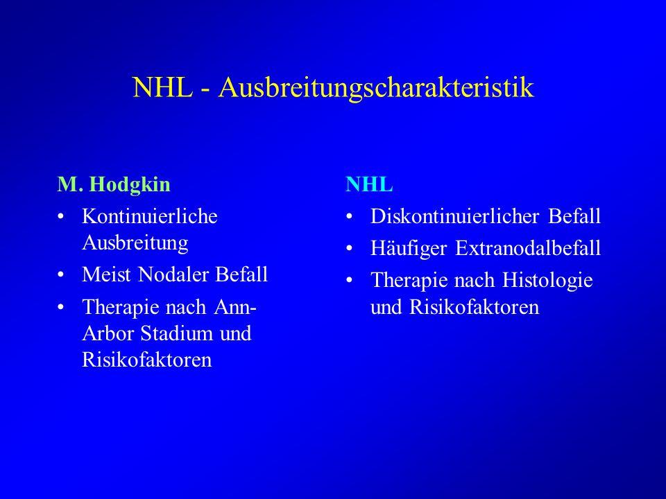 NHL - Ausbreitungscharakteristik M. Hodgkin Kontinuierliche Ausbreitung Meist Nodaler Befall Therapie nach Ann- Arbor Stadium und Risikofaktoren NHL D