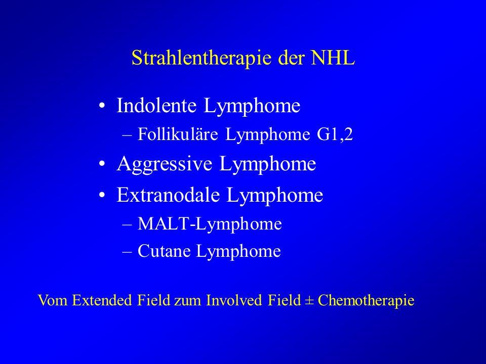 Strahlentherapie der NHL Indolente Lymphome –Follikuläre Lymphome G1,2 Aggressive Lymphome Extranodale Lymphome –MALT-Lymphome –Cutane Lymphome Vom Ex
