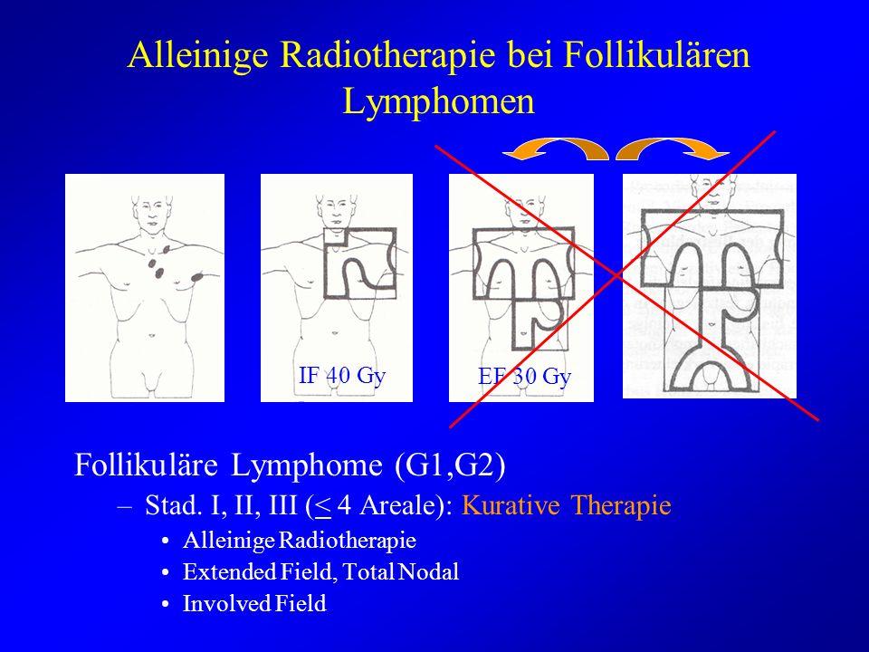 Alleinige Radiotherapie bei Follikulären Lymphomen Follikuläre Lymphome (G1,G2) –Stad. I, II, III (< 4 Areale): Kurative Therapie Alleinige Radiothera