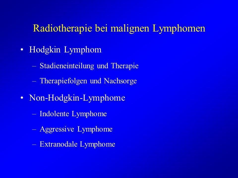 Radiotherapie bei malignen Lymphomen Hodgkin Lymphom –Stadieneinteilung und Therapie –Therapiefolgen und Nachsorge Non-Hodgkin-Lymphome –Indolente Lym