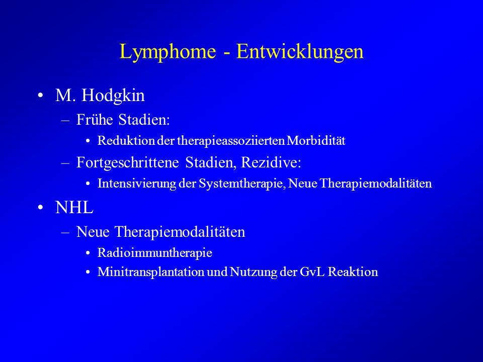 Lymphome - Entwicklungen M. Hodgkin –Frühe Stadien: Reduktion der therapieassoziierten Morbidität –Fortgeschrittene Stadien, Rezidive: Intensivierung