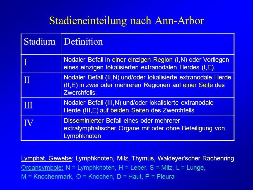 Stadieneinteilung nach Ann-Arbor StadiumDefinition I Nodaler Befall in einer einzigen Region (I,N) oder Vorliegen eines einzigen lokalisierten extrano