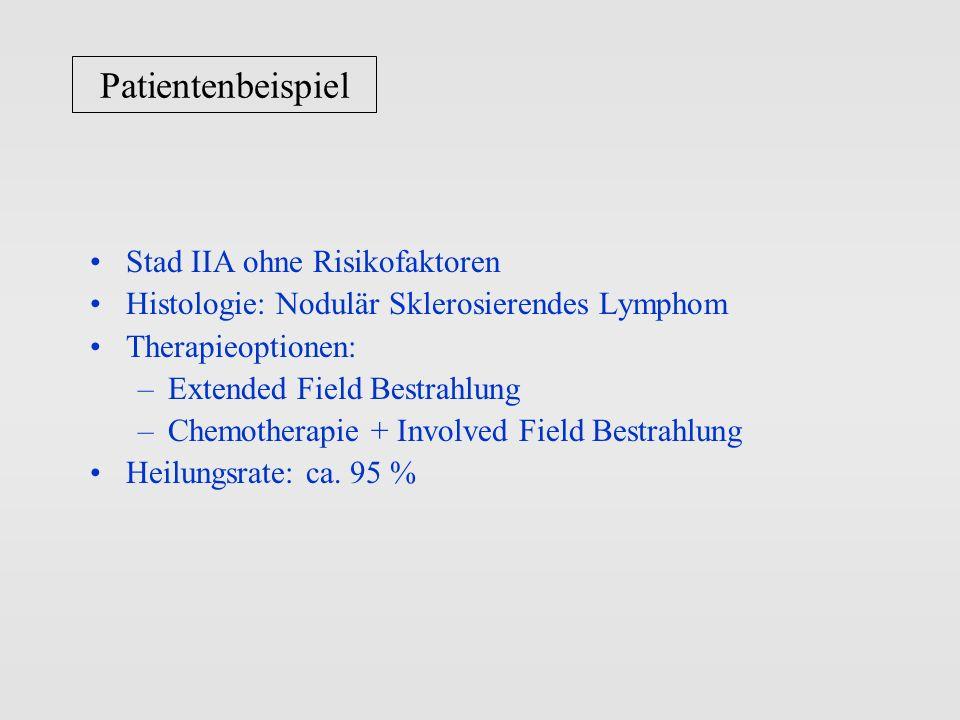 Patientenbeispiel Stad IIA ohne Risikofaktoren Histologie: Nodulär Sklerosierendes Lymphom Therapieoptionen: –Extended Field Bestrahlung –Chemotherapi