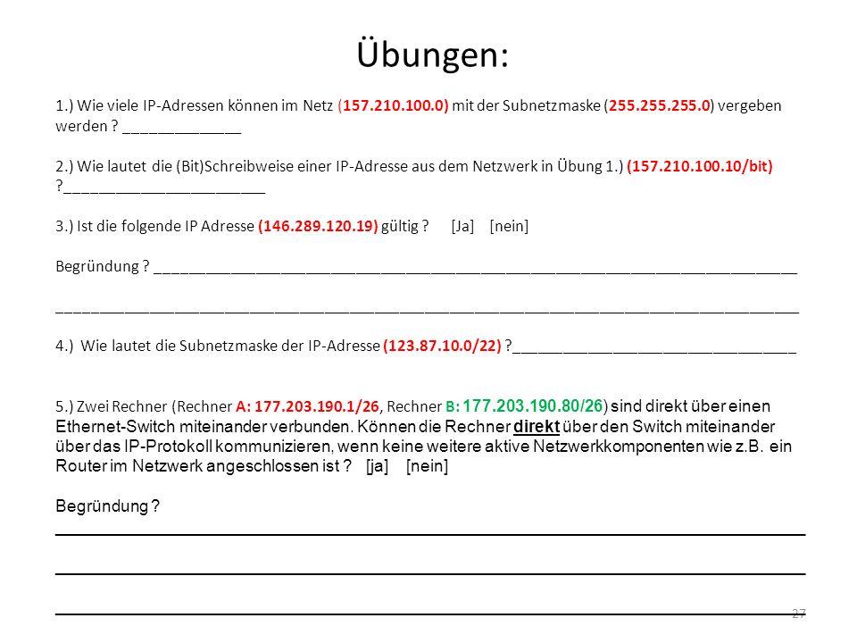 Übungen: 27 1.) Wie viele IP-Adressen können im Netz (157.210.100.0) mit der Subnetzmaske (255.255.255.0) vergeben werden ? ______________ 2.) Wie lau