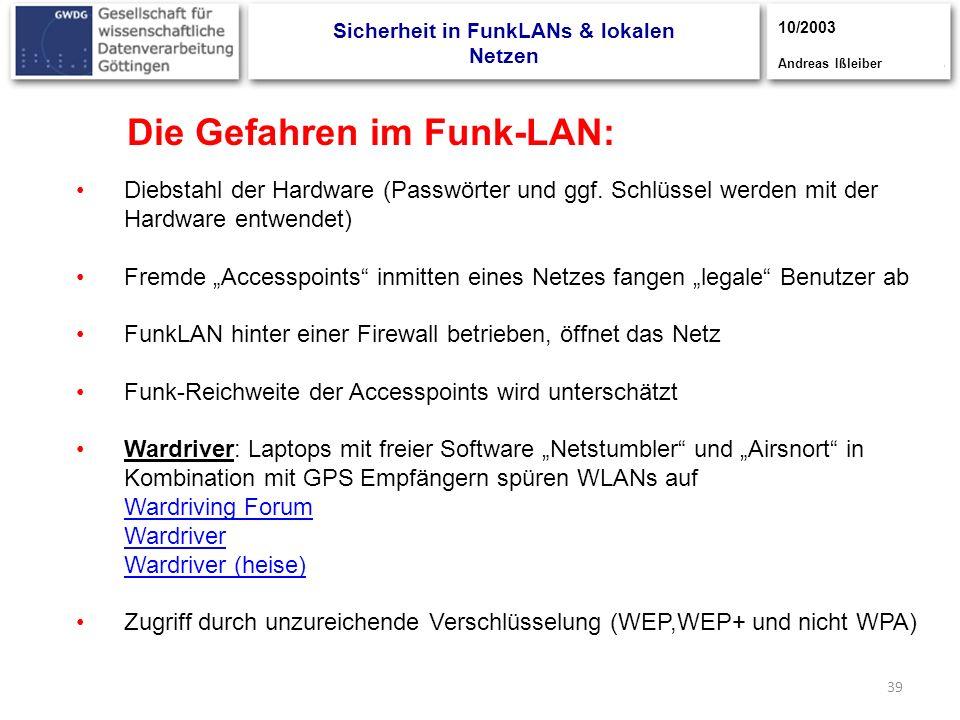 39 Die Gefahren im Funk-LAN: Diebstahl der Hardware (Passwörter und ggf. Schlüssel werden mit der Hardware entwendet) Fremde Accesspoints inmitten ein