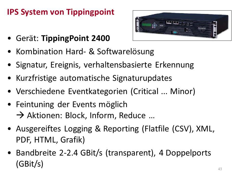 43 IPS System von Tippingpoint Gerät: TippingPoint 2400 Kombination Hard- & Softwarelösung Signatur, Ereignis, verhaltensbasierte Erkennung Kurzfristi