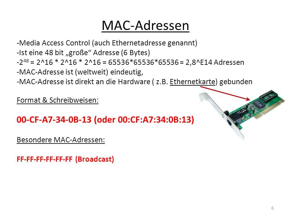 MAC-Adressen -Media Access Control (auch Ethernetadresse genannt) -Ist eine 48 bit große Adresse (6 Bytes) -2 48 = 2^16 * 2^16 * 2^16 = 65536*65536*65