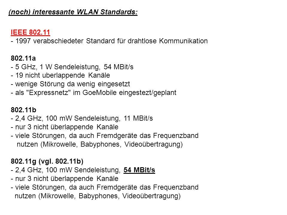 (noch) interessante WLAN Standards: IEEE 802.11 - 1997 verabschiedeter Standard für drahtlose Kommunikation 802.11a - 5 GHz, 1 W Sendeleistung, 54 MBit/s - 19 nicht uberlappende Kanäle - wenige Störung da wenig eingesetzt - als Expressnetz im GoeMobile eingestezt/geplant 802.11b - 2,4 GHz, 100 mW Sendeleistung, 11 MBit/s - nur 3 nicht überlappende Kanäle - viele Störungen, da auch Fremdgeräte das Frequenzband nutzen (Mikrowelle, Babyphones, Videoübertragung) 802.11g (vgl.