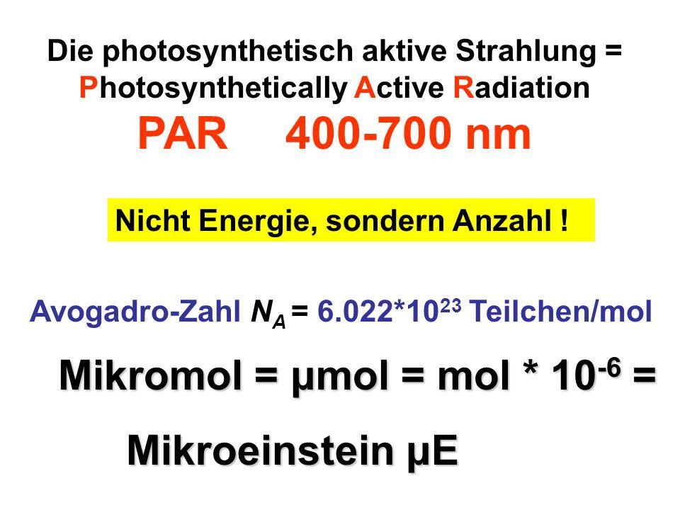 Avogadro-Zahl N A = 6.022*10 23 Teilchen/mol Die photosynthetisch aktive Strahlung = Photosynthetically Active Radiation PAR 400-700 nm Nicht Energie,