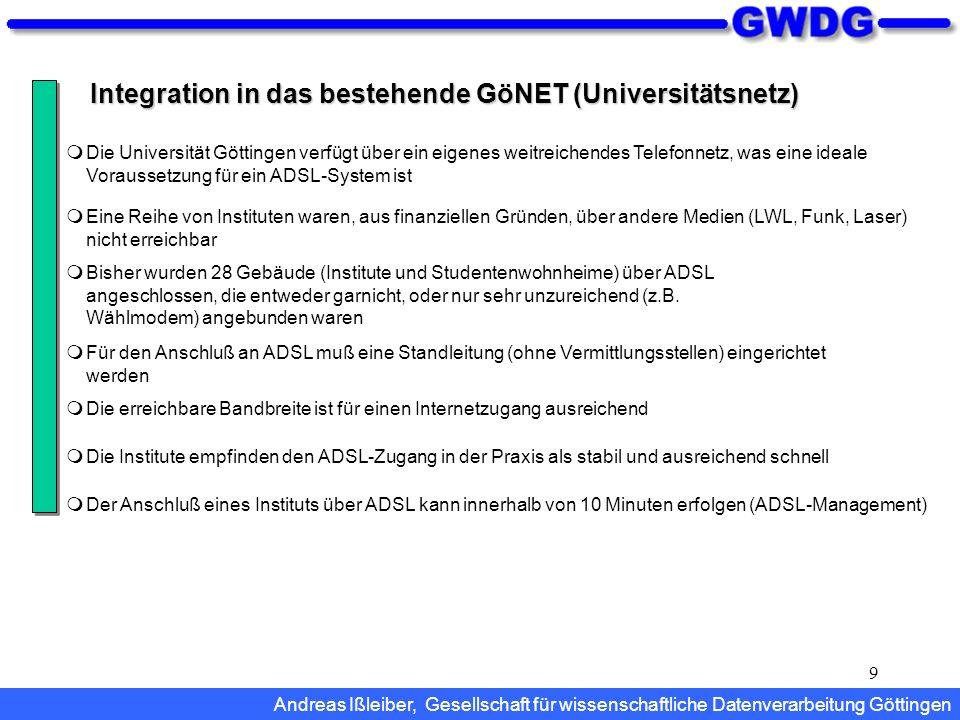 9 Integration in das bestehende GöNET (Universitätsnetz) Bisher wurden 28 Gebäude (Institute und Studentenwohnheime) über ADSL angeschlossen, die entw
