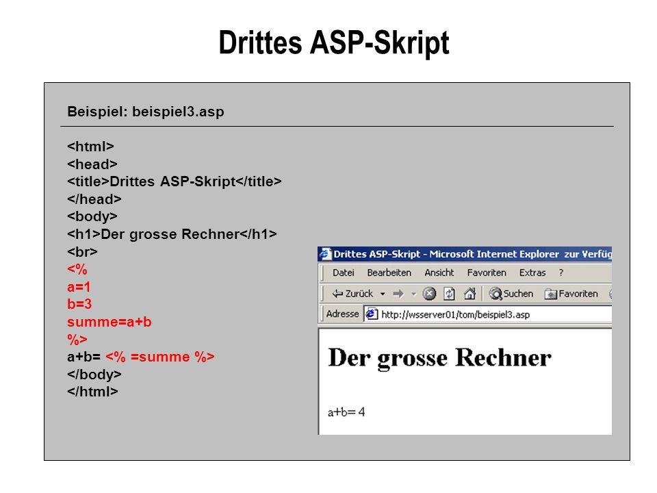 Drittes ASP-Skript Beispiel: beispiel3.asp Drittes ASP-Skript Der grosse Rechner <% a=1 b=3 summe=a+b %> a+b=