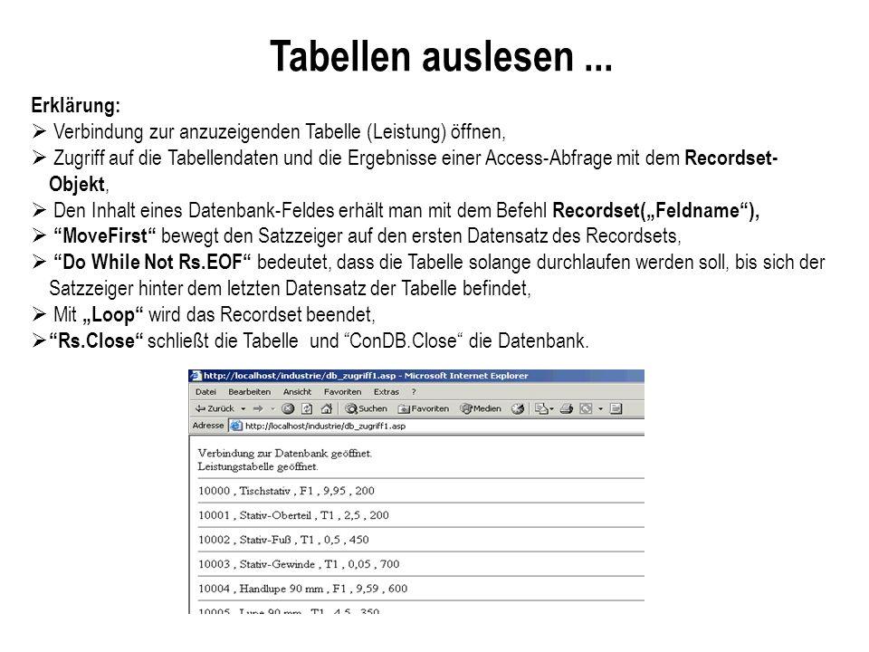 Tabellen auslesen... Erklärung: Verbindung zur anzuzeigenden Tabelle (Leistung) öffnen, Zugriff auf die Tabellendaten und die Ergebnisse einer Access-