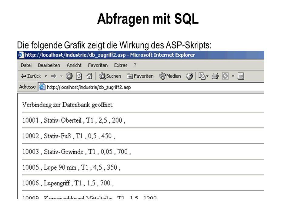 Abfragen mit SQL Die folgende Grafik zeigt die Wirkung des ASP-Skripts: