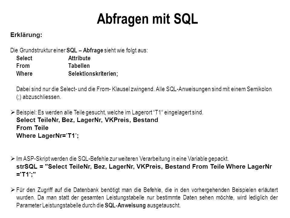 Abfragen mit SQL Erklärung: Die Grundstruktur einer SQL – Abfrage sieht wie folgt aus: Select Attribute From Tabellen Where Selektionskriterien; Dabei