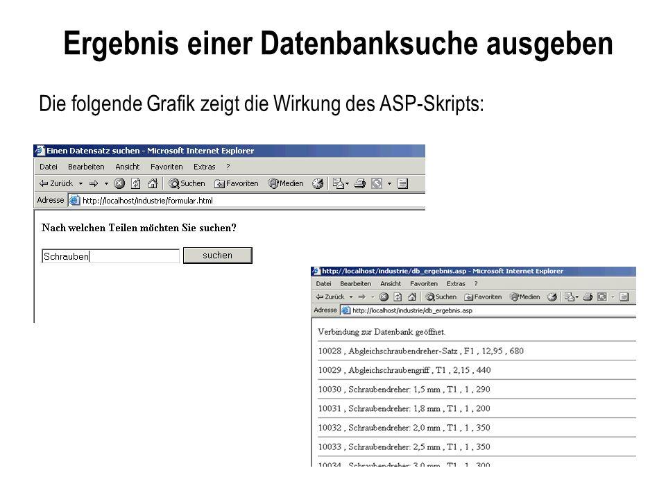 Ergebnis einer Datenbanksuche ausgeben Die folgende Grafik zeigt die Wirkung des ASP-Skripts: