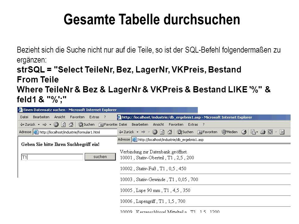 Gesamte Tabelle durchsuchen Bezieht sich die Suche nicht nur auf die Teile, so ist der SQL-Befehl folgendermaßen zu ergänzen: strSQL =