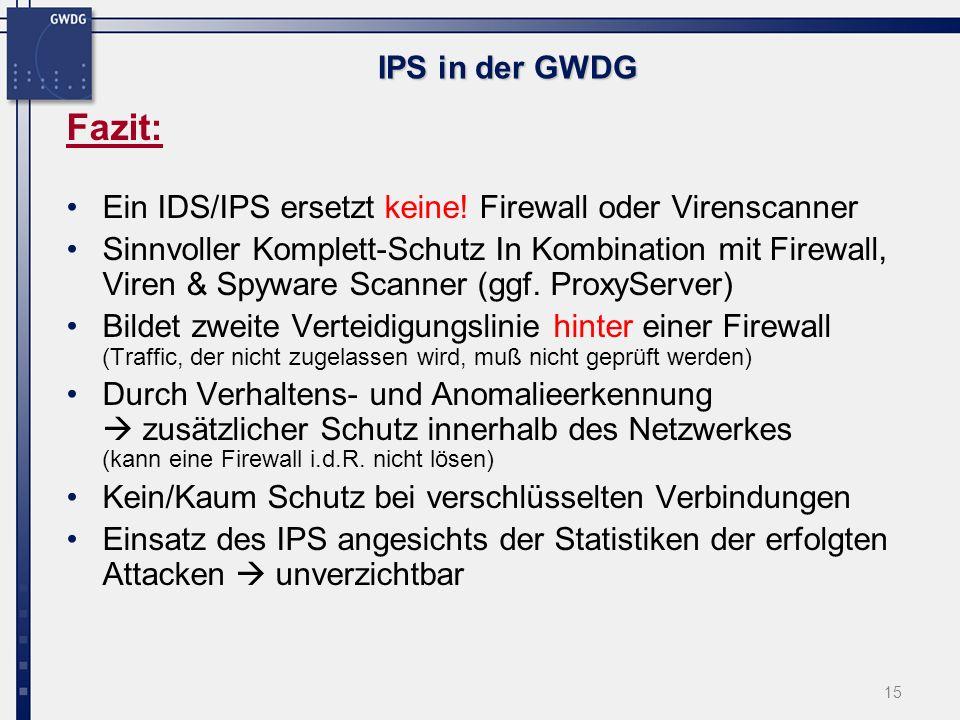 15 IPS in der GWDG Fazit: Ein IDS/IPS ersetzt keine.