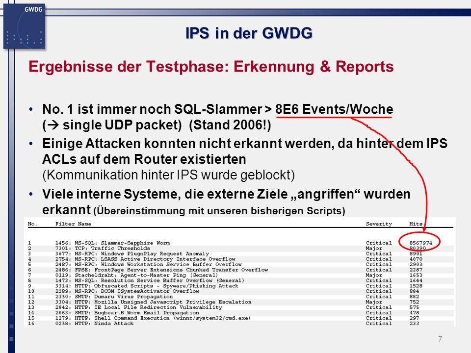 7 IPS in der GWDG Ergebnisse der Testphase: Erkennung & Reports No.