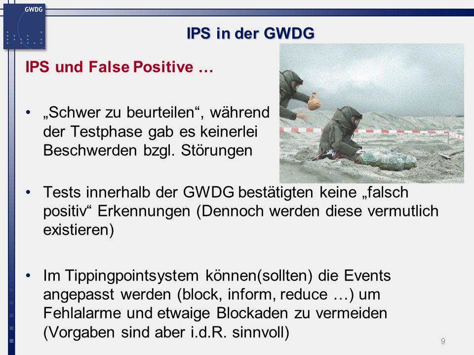 9 IPS in der GWDG IPS und False Positive … Schwer zu beurteilen, während der Testphase gab es keinerlei Beschwerden bzgl.