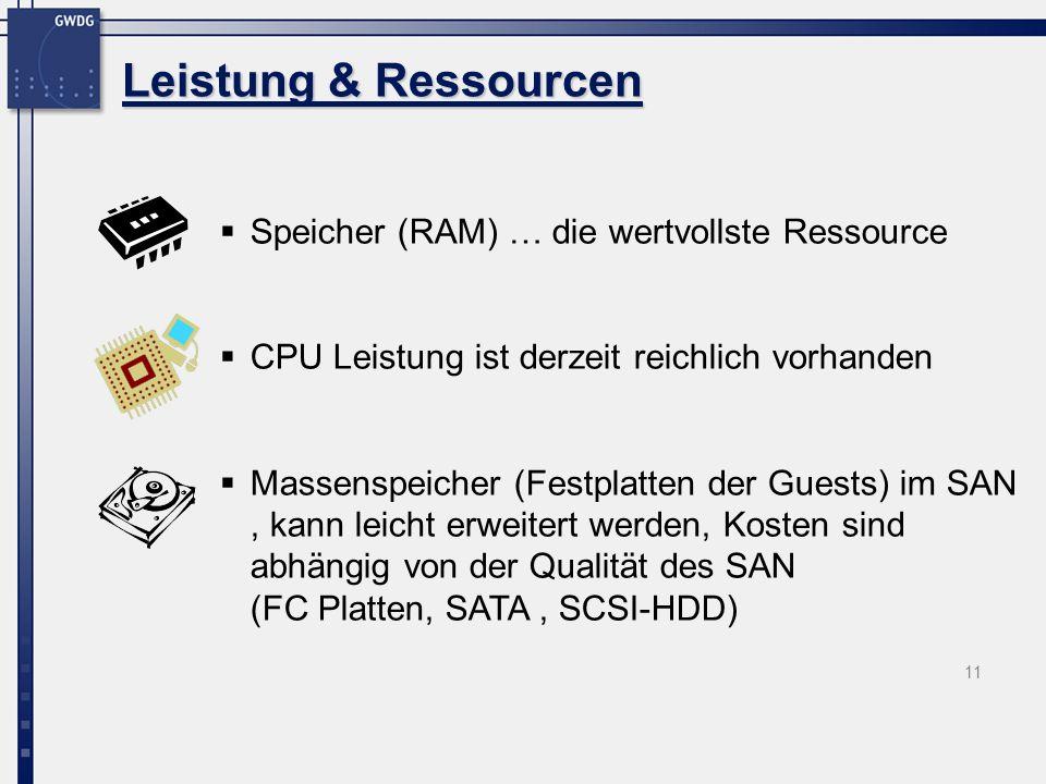 11 Speicher (RAM) … die wertvollste Ressource CPU Leistung ist derzeit reichlich vorhanden Massenspeicher (Festplatten der Guests) im SAN, kann leicht erweitert werden, Kosten sind abhängig von der Qualität des SAN (FC Platten, SATA, SCSI-HDD) Leistung & Ressourcen
