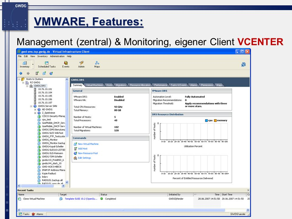 Management (zentral) & Monitoring, eigener Client VCENTER VMWARE, Features: