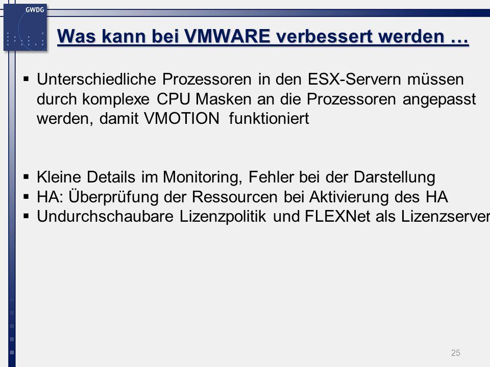 25 Unterschiedliche Prozessoren in den ESX-Servern müssen durch komplexe CPU Masken an die Prozessoren angepasst werden, damit VMOTION funktioniert Kleine Details im Monitoring, Fehler bei der Darstellung HA: Überprüfung der Ressourcen bei Aktivierung des HA Undurchschaubare Lizenzpolitik und FLEXNet als Lizenzserver Was kann bei VMWARE verbessert werden …