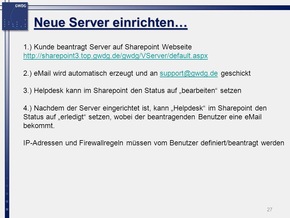 27 Neue Server einrichten… 1.) Kunde beantragt Server auf Sharepoint Webseite http://sharepoint3.top.gwdg.de/gwdg/VServer/default.aspx http://sharepoint3.top.gwdg.de/gwdg/VServer/default.aspx 2.) eMail wird automatisch erzeugt und an support@gwdg.de geschicktsupport@gwdg.de 3.) Helpdesk kann im Sharepoint den Status auf bearbeiten setzen 4.) Nachdem der Server eingerichtet ist, kann Helpdesk im Sharepoint den Status auf erledigt setzen, wobei der beantragenden Benutzer eine eMail bekommt.