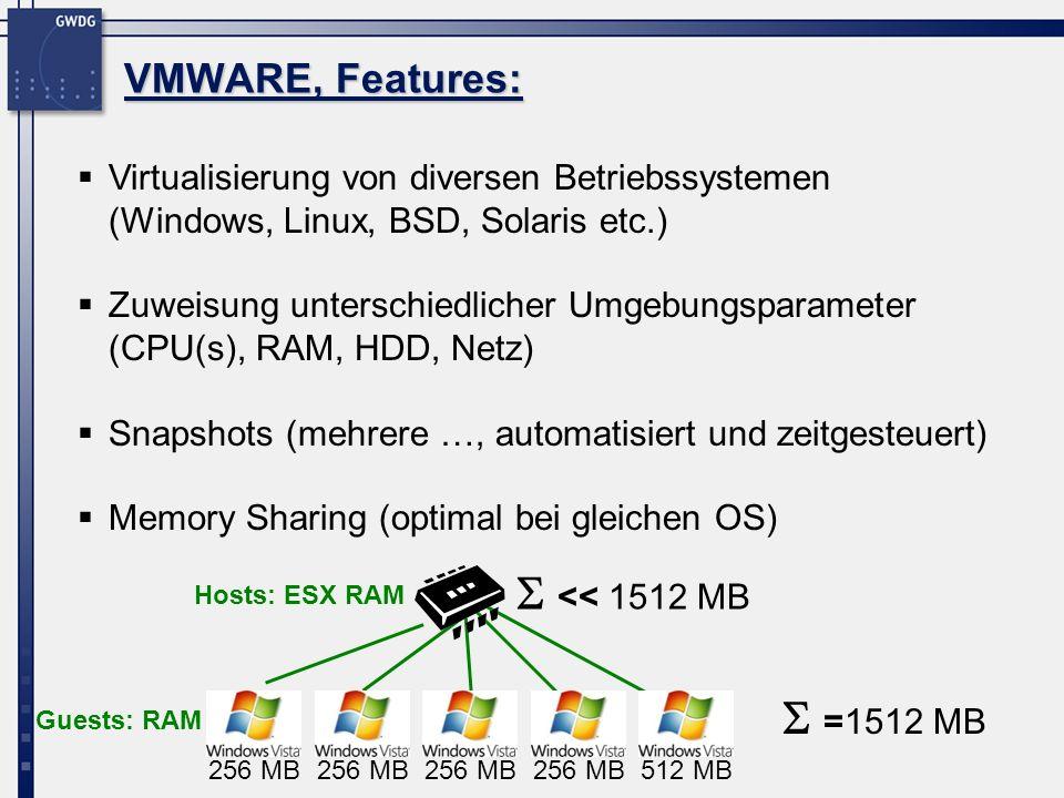 Virtualisierung von diversen Betriebssystemen (Windows, Linux, BSD, Solaris etc.) Zuweisung unterschiedlicher Umgebungsparameter (CPU(s), RAM, HDD, Ne