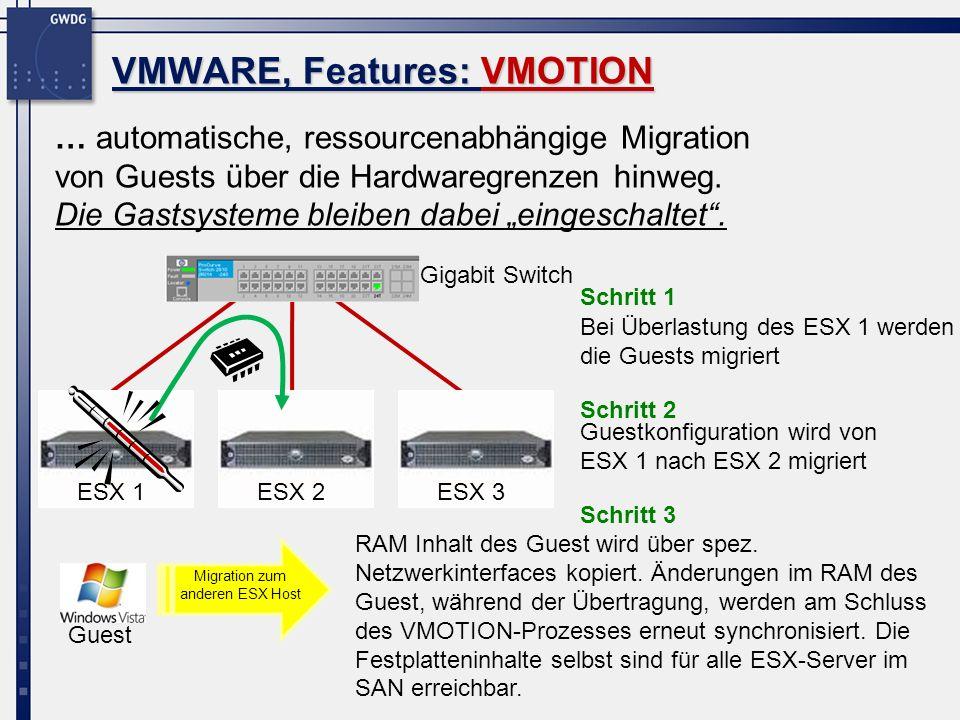 Virtualisierung bei der GWDG, Performance 16 Summe der Ressourcen des gesamten Struktur (Stand: 04/09): System load (CPU & Memory, Stand: 04/09): Produktivsysteme (2 x HP Proliant) Testsysteme (Dell Blades) nicht produktiv im Einsatz