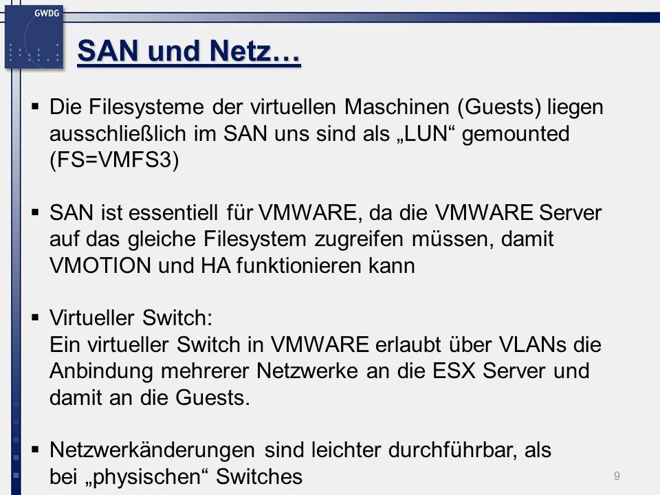 9 Die Filesysteme der virtuellen Maschinen (Guests) liegen ausschließlich im SAN uns sind als LUN gemounted (FS=VMFS3) SAN ist essentiell für VMWARE, da die VMWARE Server auf das gleiche Filesystem zugreifen müssen, damit VMOTION und HA funktionieren kann Virtueller Switch: Ein virtueller Switch in VMWARE erlaubt über VLANs die Anbindung mehrerer Netzwerke an die ESX Server und damit an die Guests.