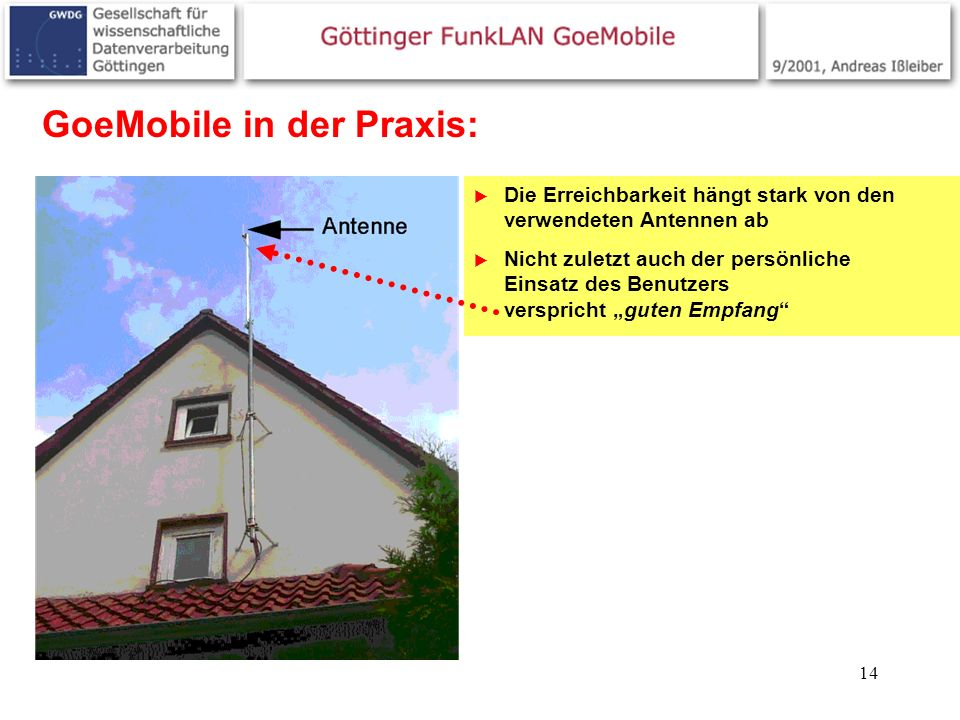 14 GoeMobile in der Praxis: Die Erreichbarkeit hängt stark von den verwendeten Antennen ab Nicht zuletzt auch der persönliche Einsatz des Benutzers ve