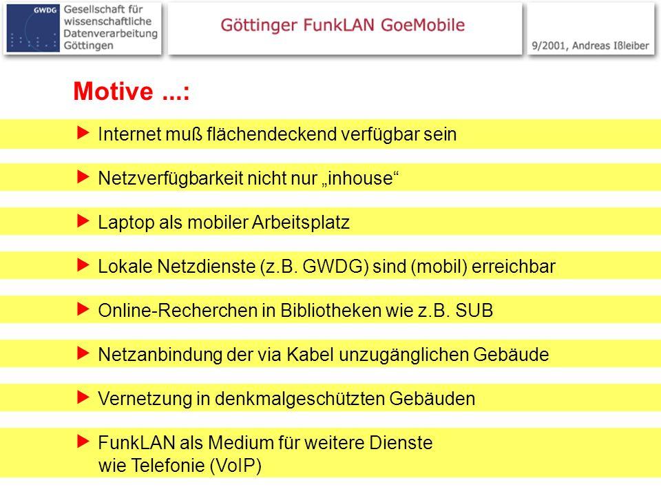 2 Motive...: Internet muß flächendeckend verfügbar sein Laptop als mobiler Arbeitsplatz Lokale Netzdienste (z.B. GWDG) sind (mobil) erreichbar Online-