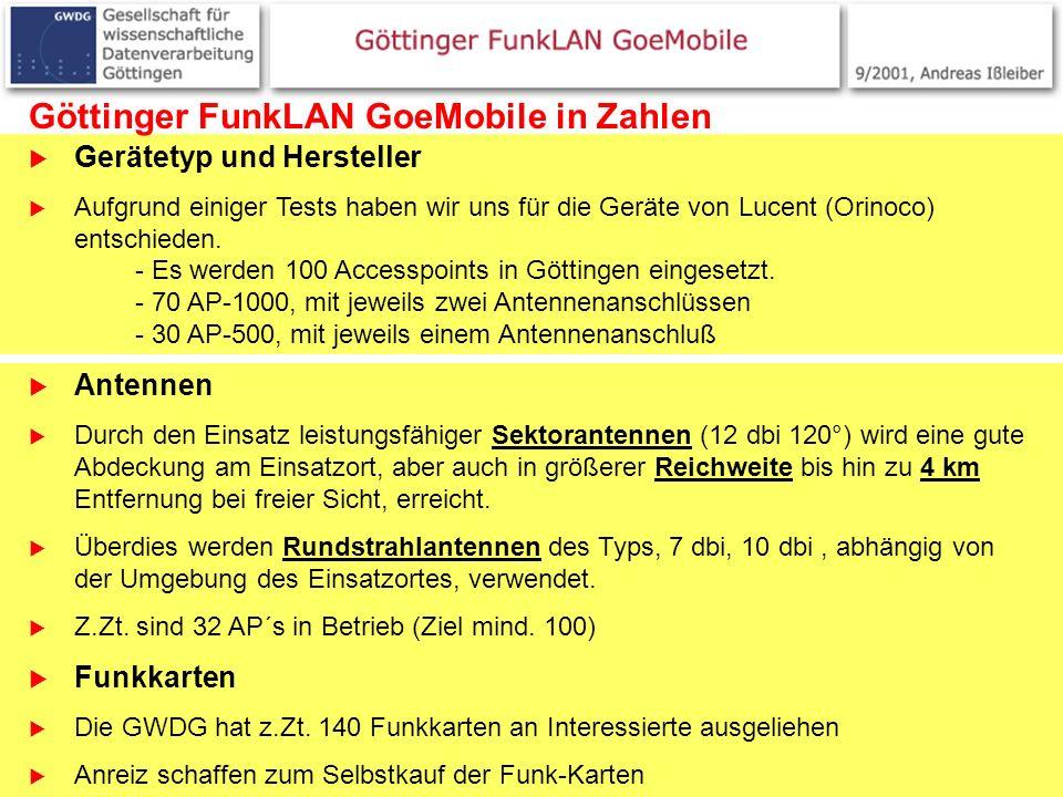 9 Göttinger FunkLAN GoeMobile in Zahlen Gerätetyp und Hersteller Aufgrund einiger Tests haben wir uns für die Geräte von Lucent (Orinoco) entschieden.