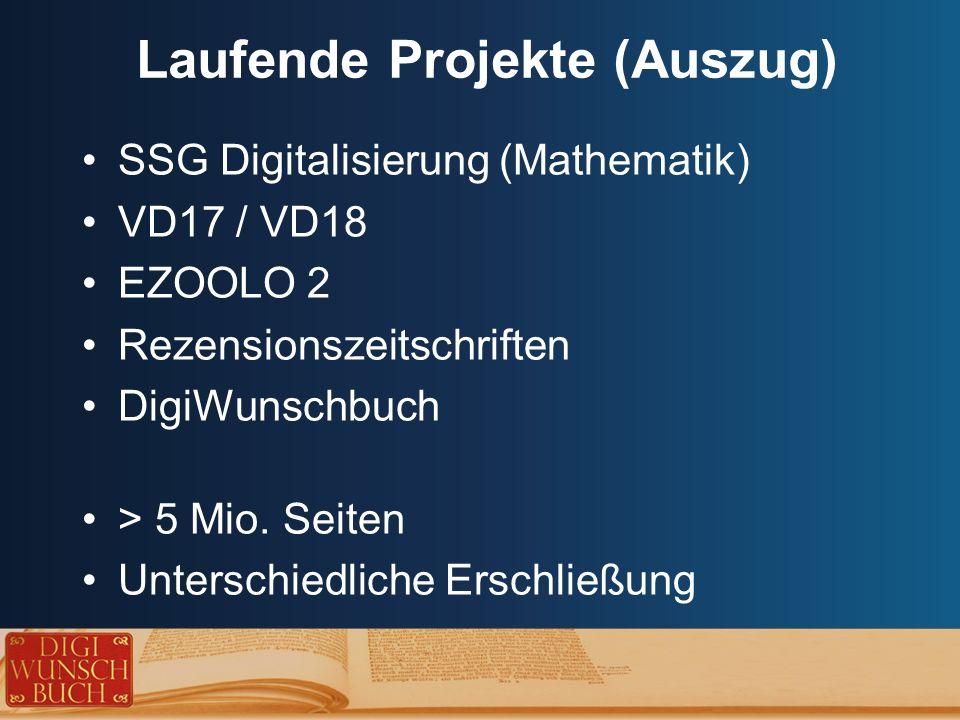 Laufende Projekte (Auszug) SSG Digitalisierung (Mathematik) VD17 / VD18 EZOOLO 2 Rezensionszeitschriften DigiWunschbuch > 5 Mio.