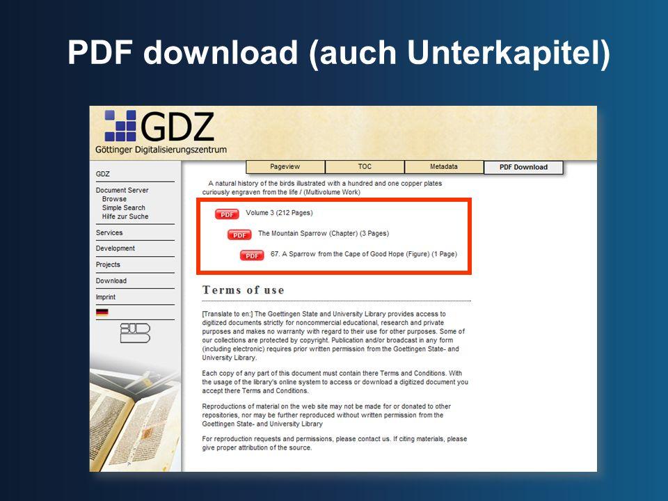 PDF download (auch Unterkapitel)