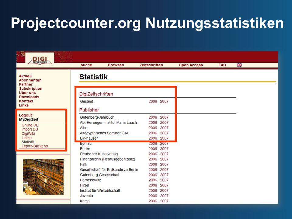 Projectcounter.org Nutzungsstatistiken