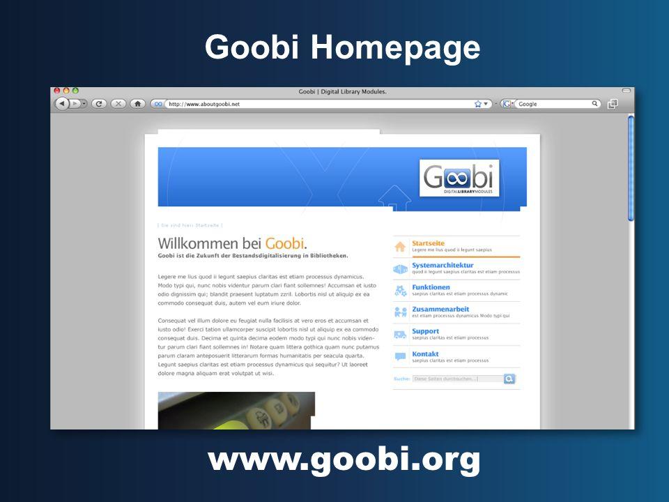 Goobi Homepage www.goobi.org