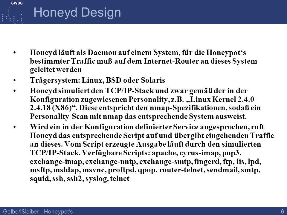 Gelbe/Ißleiber – Honeypots 6 Honeyd Design Honeyd läuft als Daemon auf einem System, für die Honeypots bestimmter Traffic muß auf dem Internet-Router