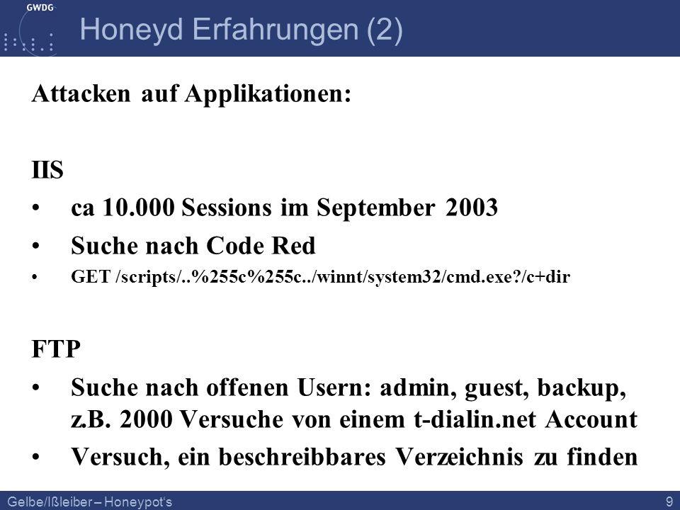 Gelbe/Ißleiber – Honeypots 9 Honeyd Erfahrungen (2) Attacken auf Applikationen: IIS ca 10.000 Sessions im September 2003 Suche nach Code Red GET /scri
