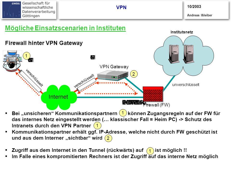 CISCO S YSTEMS CISCOYSTEMS CISCOSYSTEMS UPPER POWER LOWER POWER NORMAL Mögliche Einsatzscenarien in Instituten Firewall hinter VPN Gateway VPN Institu