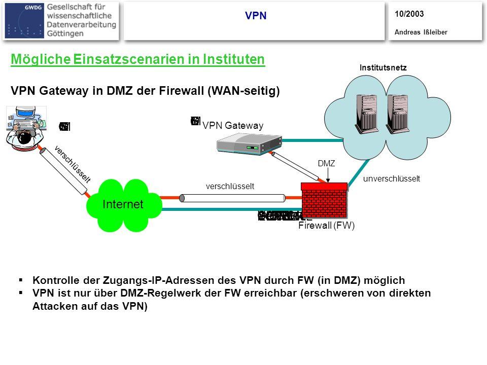 CISCO S YSTEMS CISCOYSTEMS CISCOSYSTEMS UPPER POWER LOWER POWER NORMAL Mögliche Einsatzscenarien in Instituten VPN Gateway in DMZ der Firewall (WAN-se