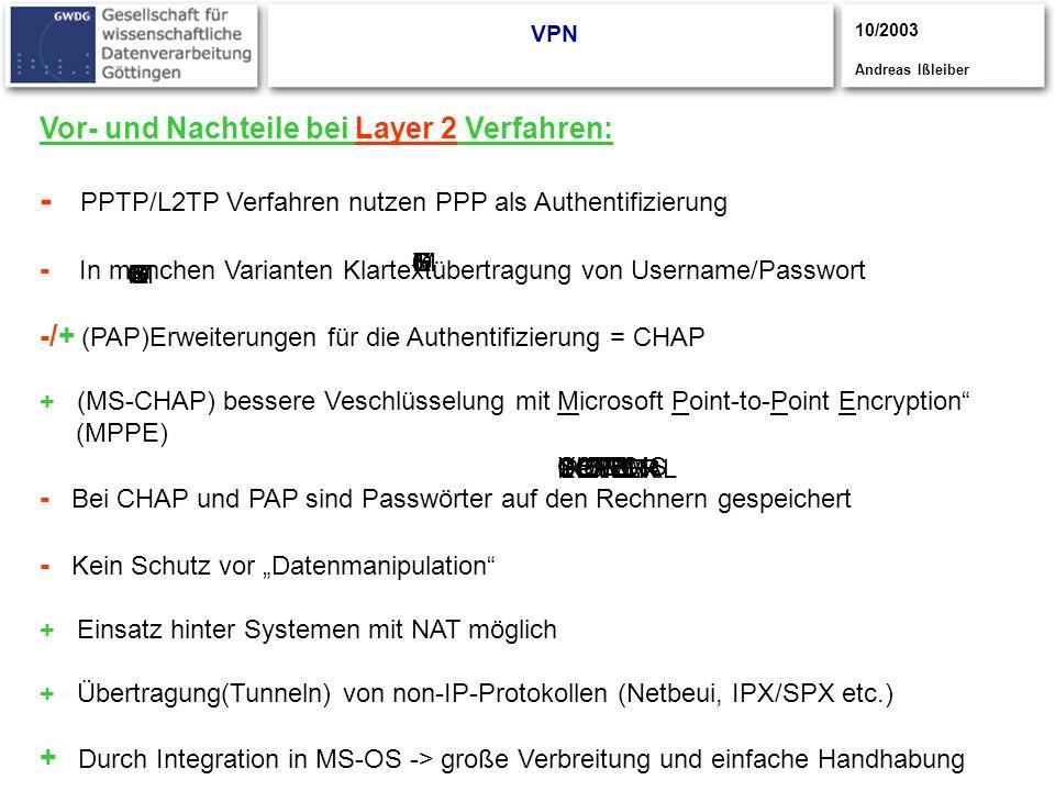 CISCO S YSTEMS CISCOYSTEMS CISCOSYSTEMS UPPER POWER LOWER POWER NORMAL VPN Vor- und Nachteile bei Layer 2 Verfahren: - PPTP/L2TP Verfahren nutzen PPP