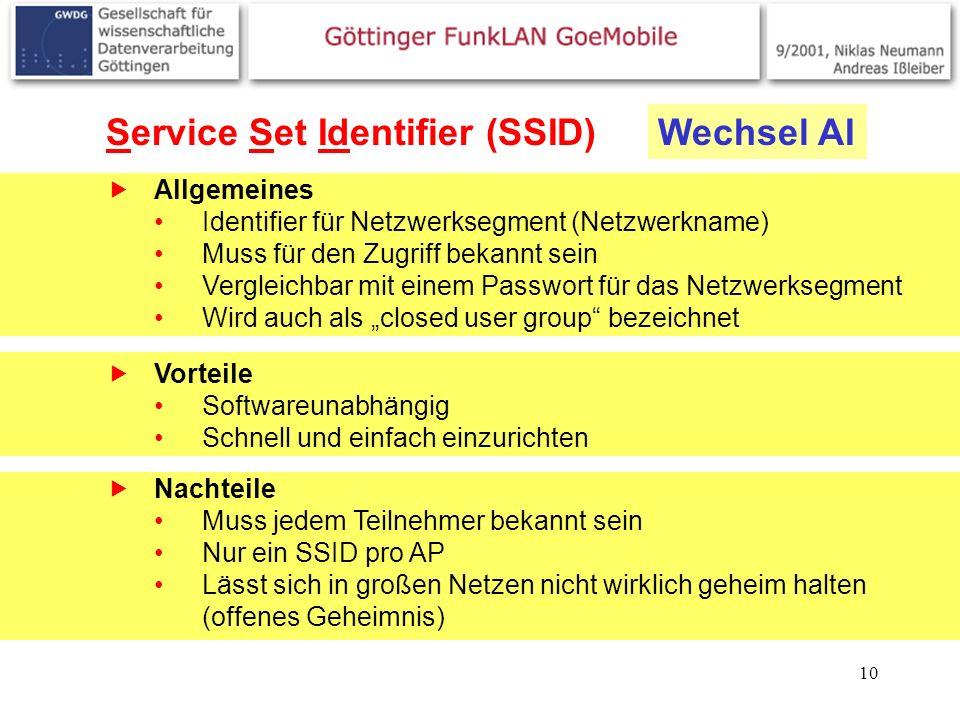 10 Service Set Identifier (SSID) Allgemeines Identifier für Netzwerksegment (Netzwerkname) Muss für den Zugriff bekannt sein Vergleichbar mit einem Pa