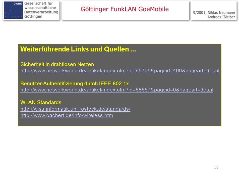 18 Weiterführende Links und Quellen... Sicherheit in drahtlosen Netzen http://www.networkworld.de/artikel/index.cfm?id=65705&pageid=400&pageart=detail