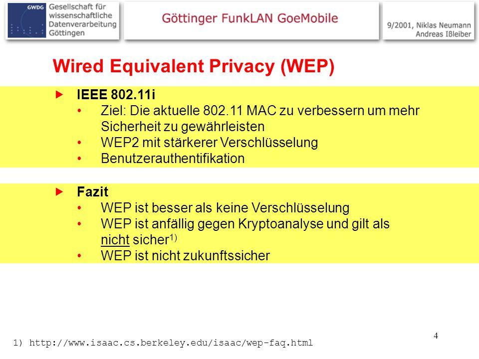 4 Wired Equivalent Privacy (WEP) IEEE 802.11i Ziel: Die aktuelle 802.11 MAC zu verbessern um mehr Sicherheit zu gewährleisten WEP2 mit stärkerer Verschlüsselung Benutzerauthentifikation Fazit WEP ist besser als keine Verschlüsselung WEP ist anfällig gegen Kryptoanalyse und gilt als nicht sicher 1) WEP ist nicht zukunftssicher 1) http://www.isaac.cs.berkeley.edu/isaac/wep-faq.html
