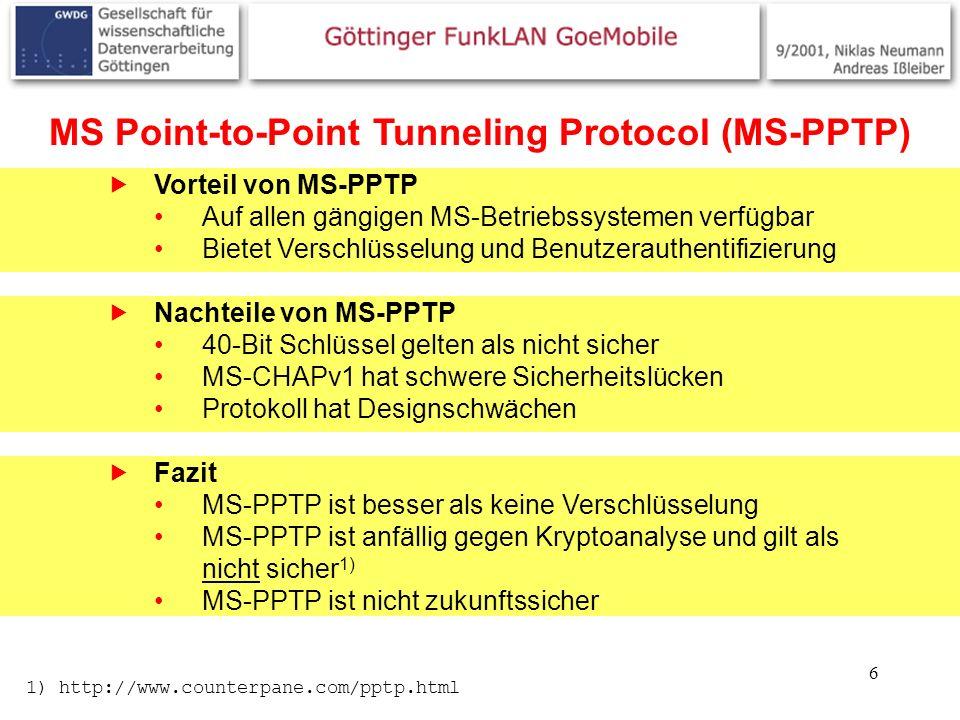 6 MS Point-to-Point Tunneling Protocol (MS-PPTP) Vorteil von MS-PPTP Auf allen gängigen MS-Betriebssystemen verfügbar Bietet Verschlüsselung und Benut