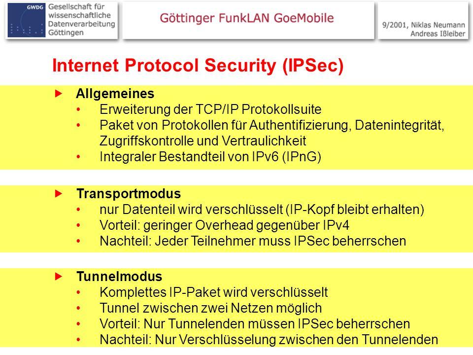 7 Internet Protocol Security (IPSec) Allgemeines Erweiterung der TCP/IP Protokollsuite Paket von Protokollen für Authentifizierung, Datenintegrität, Zugriffskontrolle und Vertraulichkeit Integraler Bestandteil von IPv6 (IPnG) Transportmodus nur Datenteil wird verschlüsselt (IP-Kopf bleibt erhalten) Vorteil: geringer Overhead gegenüber IPv4 Nachteil: Jeder Teilnehmer muss IPSec beherrschen Tunnelmodus Komplettes IP-Paket wird verschlüsselt Tunnel zwischen zwei Netzen möglich Vorteil: Nur Tunnelenden müssen IPSec beherrschen Nachteil: Nur Verschlüsselung zwischen den Tunnelenden